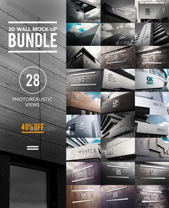 3D Logo Wall Bundle Mock-Up - Logo Product Mock-Ups