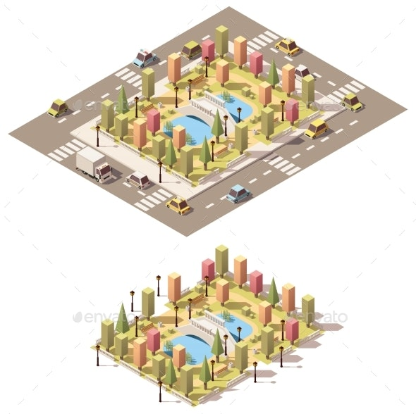 Vector Isometric Low Poly Urban Park - Buildings Objects