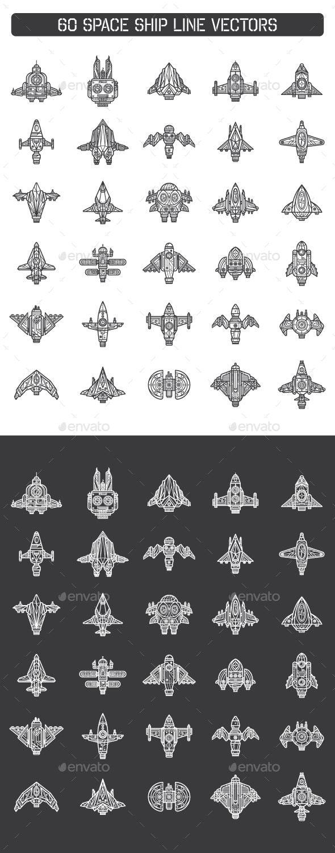 60 Space Ship Line Vectors - Decorative Symbols Decorative