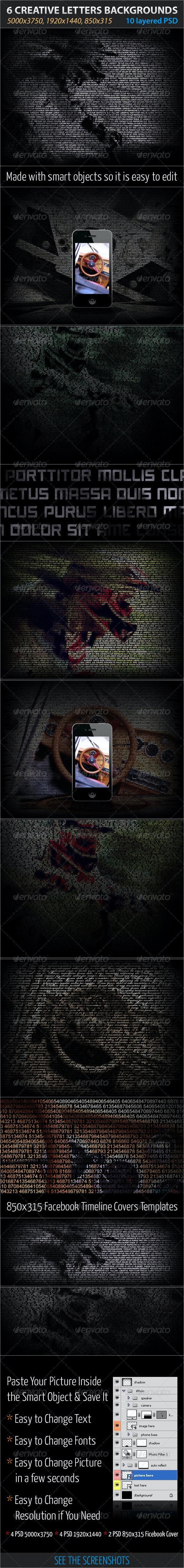 6 Creative Letters Backgrounds - Tech / Futuristic Photo Templates