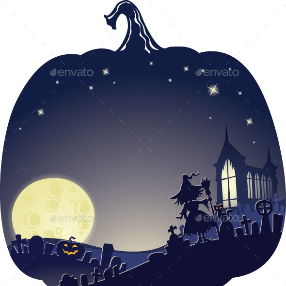 Halloween Double Exposure Background with Witch on Graveyard