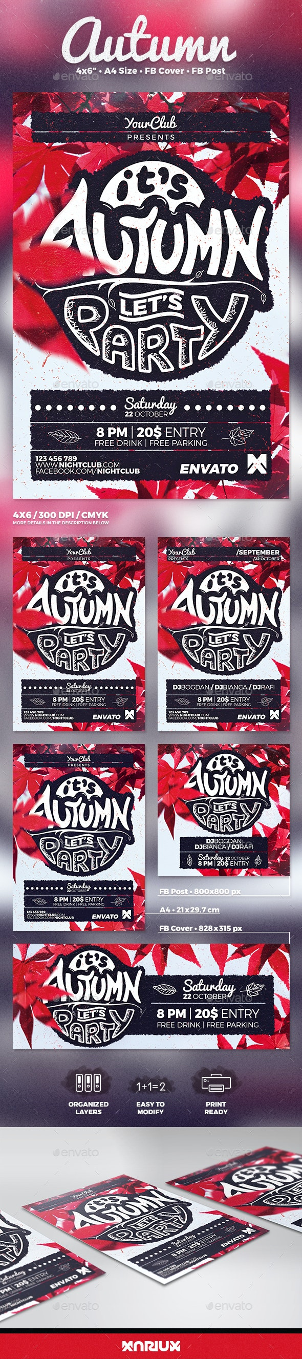 Autumn Party Flyer Poster - Clubs & Parties Events