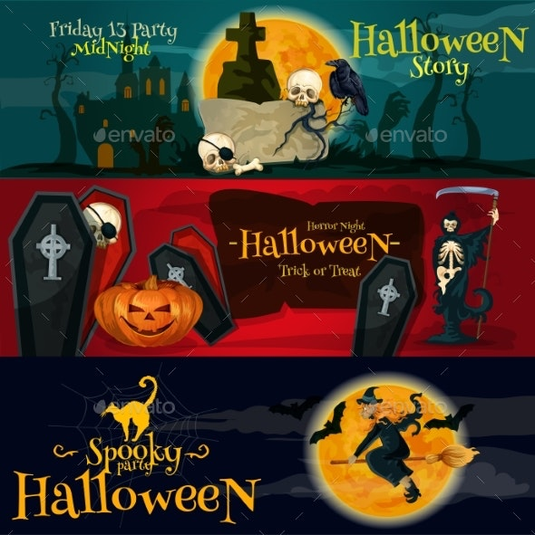 Cartoon Halloween Party Banners And Posters - Halloween Seasons/Holidays