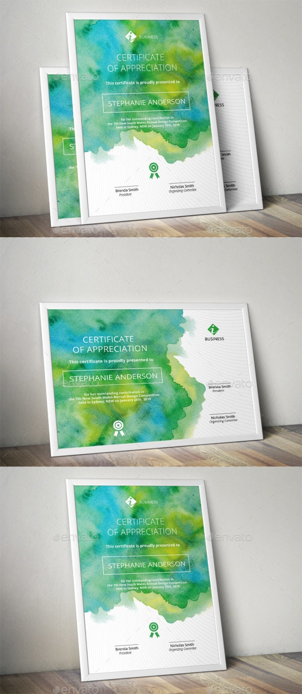 Watercolor Corporate Certificate Template - Certificates Stationery