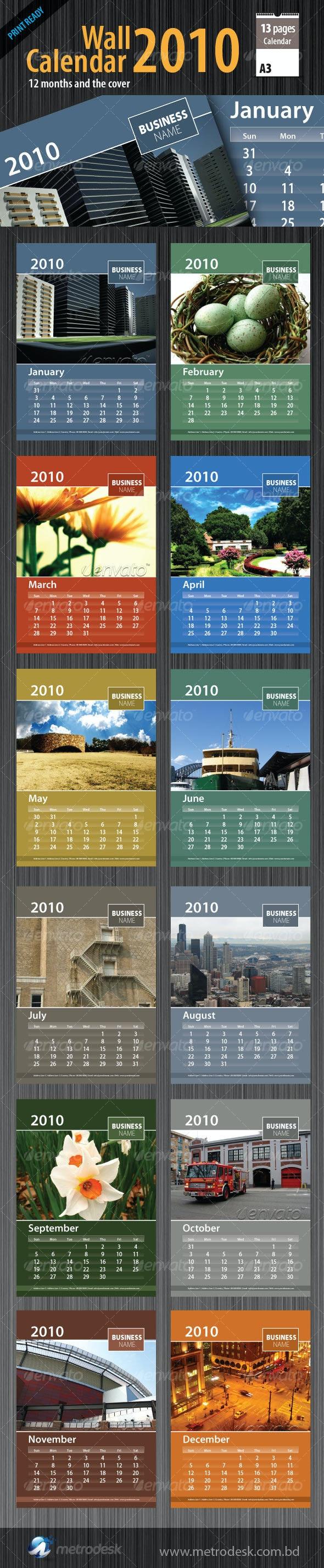 Wall Calendar 2010 [ 12 page ]  - Calendars Stationery