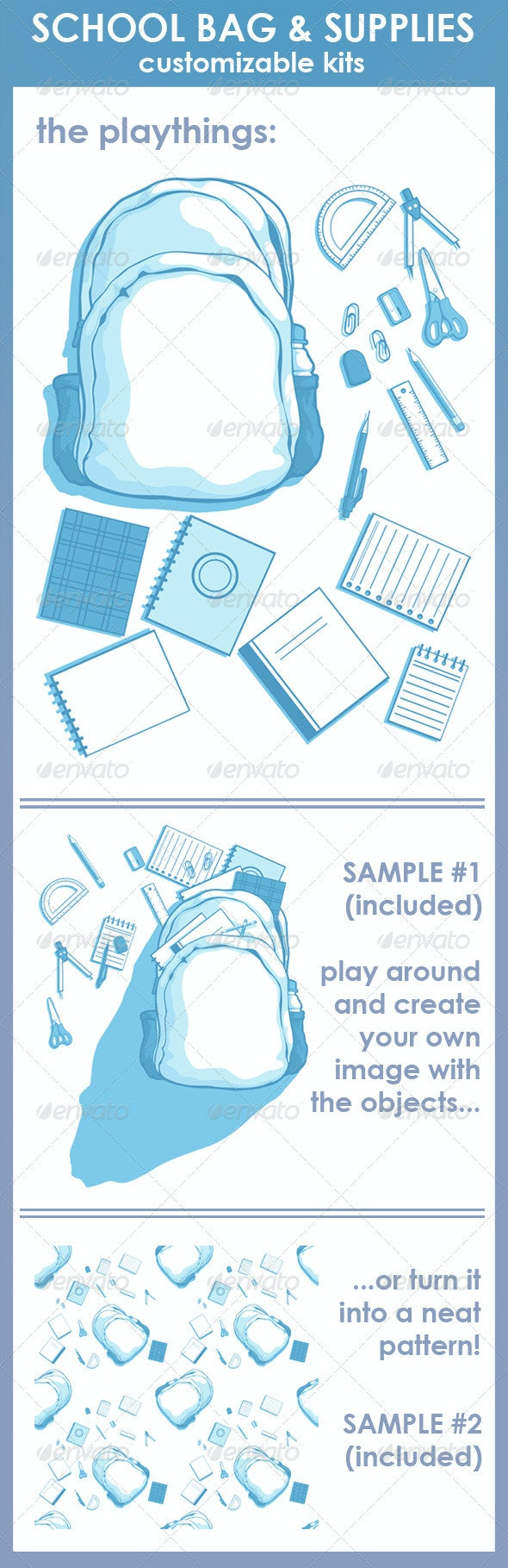 Customizable Kits - School Bag & Supplies - Man-made Objects Objects