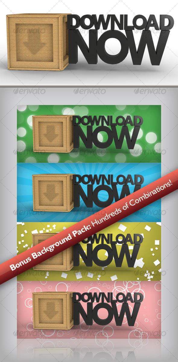 """3D """"Download Now"""" Button & Bonus Background Pack - Buttons Web Elements"""