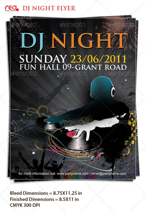 Beautiful Dj Night Poster/Flyer Template - Clubs & Parties Events