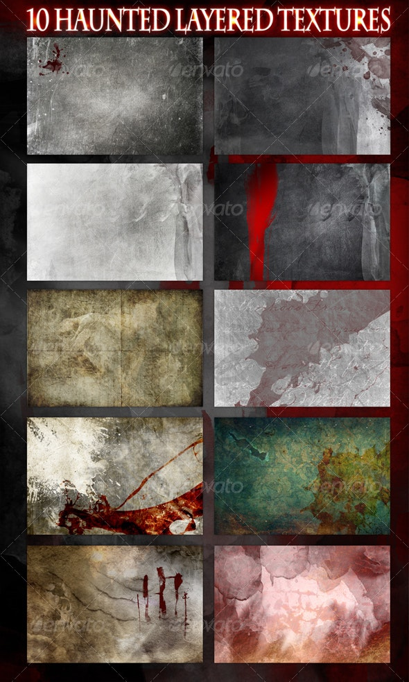 10 Haunted Layered Textures - Backgrounds Graphics