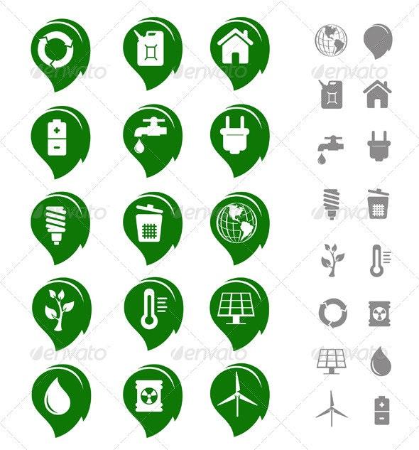 Ecology and Environment Icon Set - Web Elements Vectors