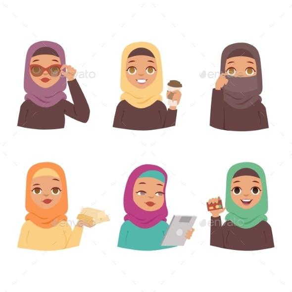 Arabic Woman Vector Set.