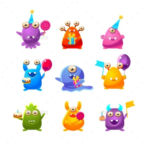Toy Monsters With Birthday Party Objects