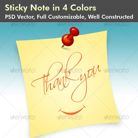 Sticky Note with push pin in 4 Colors