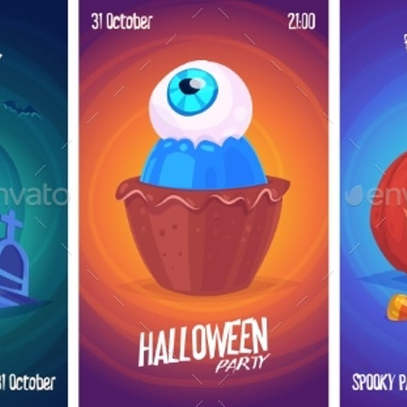 Vector Set Of Halloween Illustrations