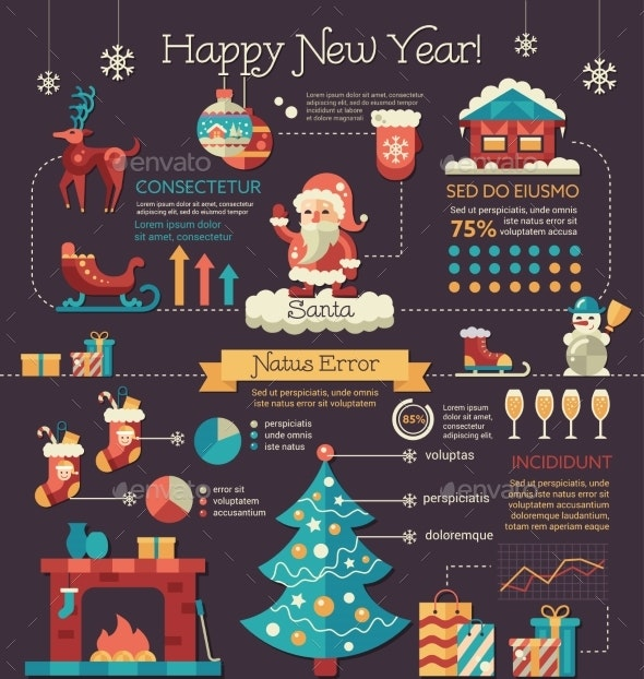 Happy New Year - Poster, Brochure Cover Template - New Year Seasons/Holidays