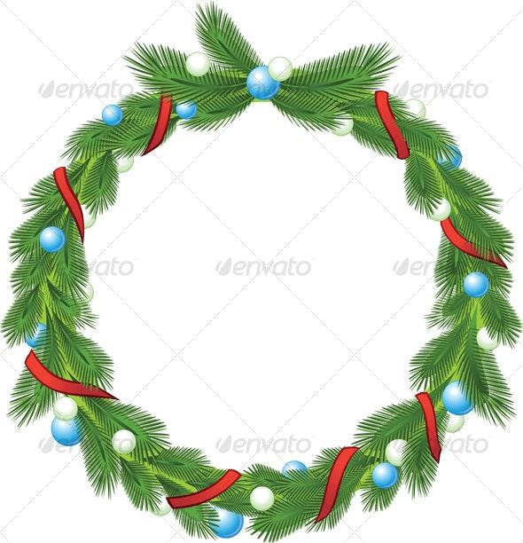 green christmas wreath - Decorative Symbols Decorative