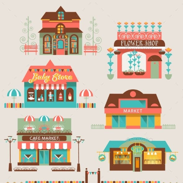Markets Buildings And Urban Elements Set.