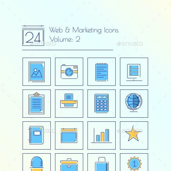 24 Web & Marketing thin line icons Volume 2