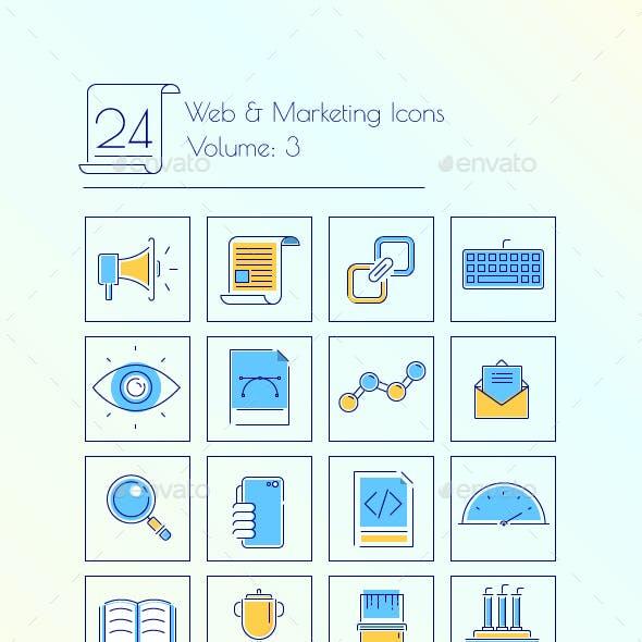 24 Web & Marketing thin line icons Volume 3