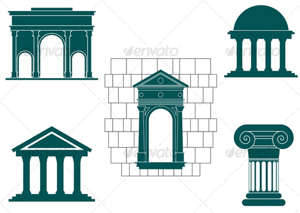 Symbols of ancient buildings - Buildings Objects