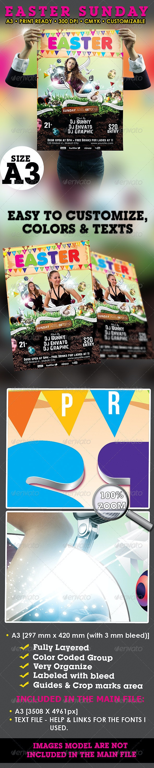 Easter Sunday Poster/Flyer Template - Flyers Print Templates