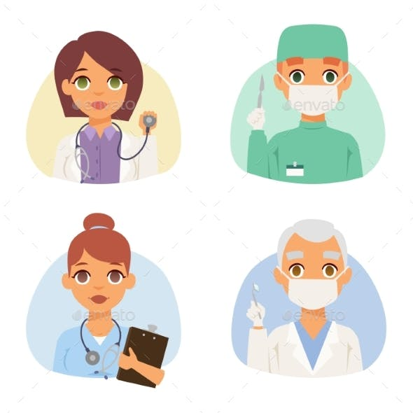 Doctors Specialists Faces Set