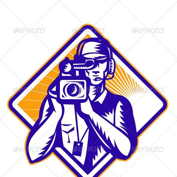 Film  Crew Cameraman Holding Camera Retro