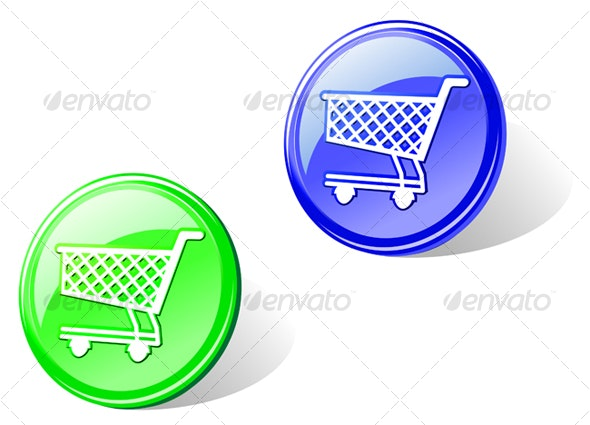 Glossy shopping cart button - Decorative Vectors