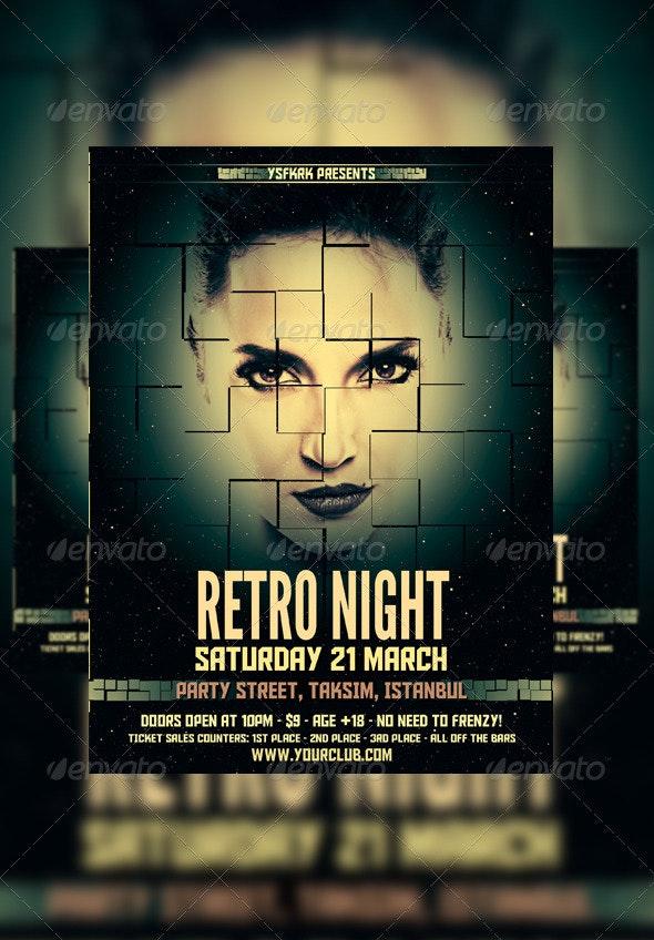 Retro Night Flyer Template - Flyers Print Templates