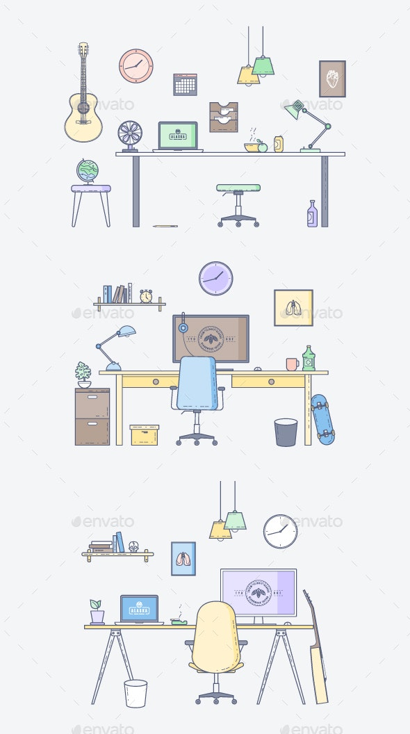 Three Vector Interior Workspace - Objects Vectors
