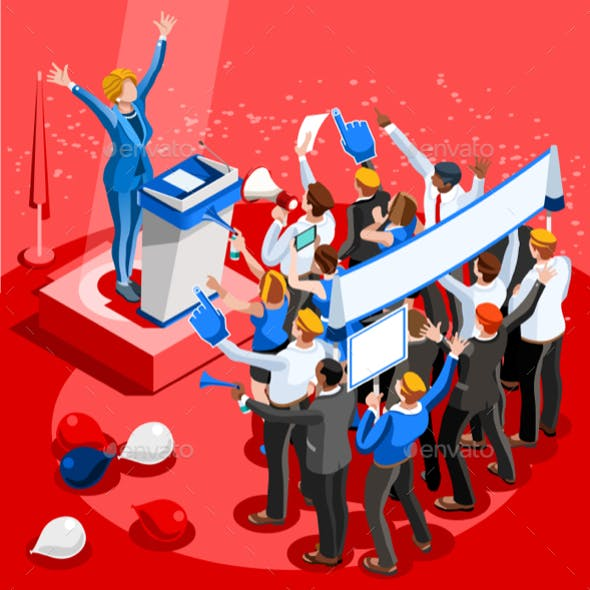 Election Infographic Convention Center Vector Isometric People