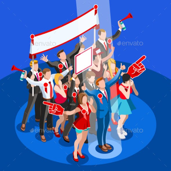 Election Infographic Convention Hall Vector Isometric People