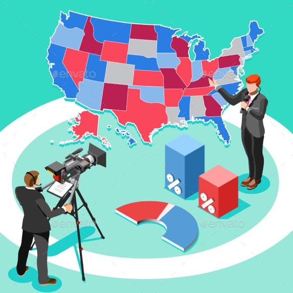 Election News Infographic Spokesman Vector Isometric People
