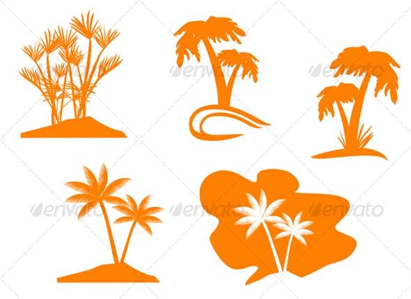 Set of palm trees - Decorative Vectors