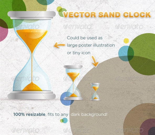 Vector Sand Clock Illustration - Man-made Objects Objects