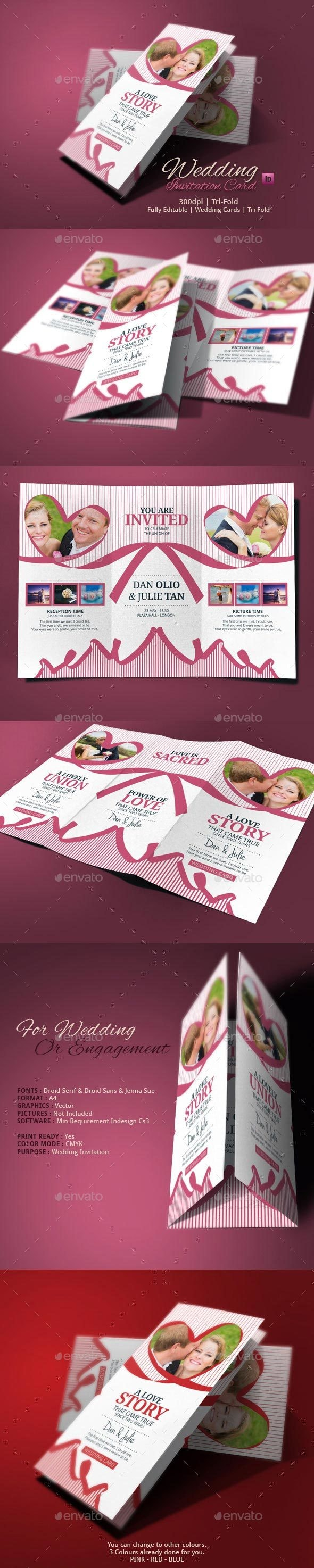 Tri Fold Wedding Invitation - Weddings Cards & Invites
