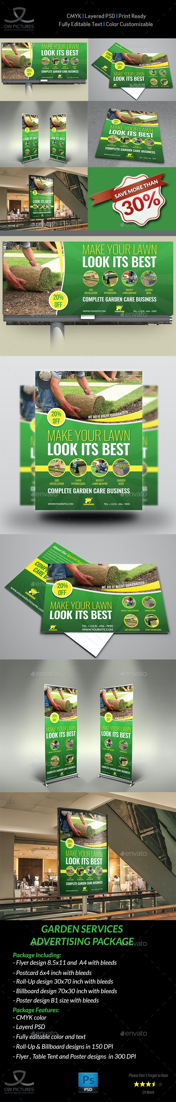 Garden Services Advertising Bundle Vol.2 - Signage Print Templates