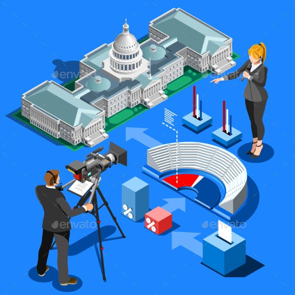 Election Infographic Presidential Vector Isometric Building - Miscellaneous Conceptual