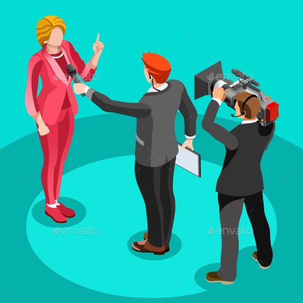 Election News Infographic Interview Vector Isometric People