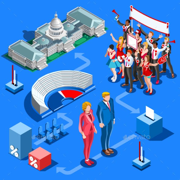 Election Infographic Us Political Vector Isometric People