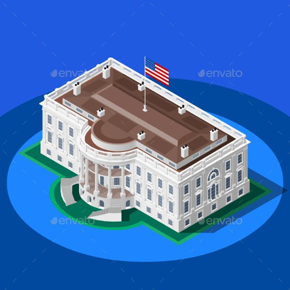 Election Infographic White House Vector Isometric Building