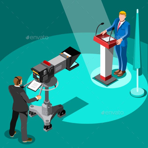 Election News Infographic Premier Vector Isometric People