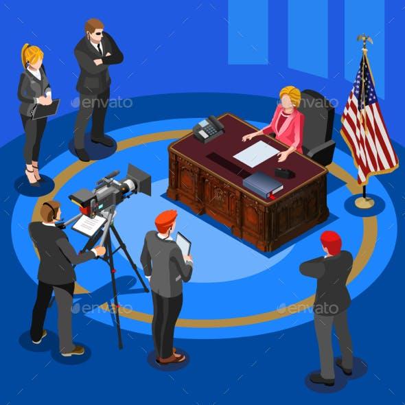 President Speech Vector Isometric People