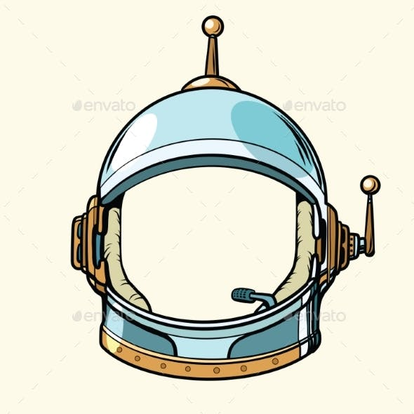 Space Suit Helmet Isolated on White Background