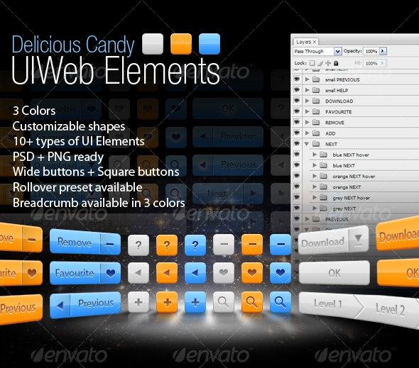 Delicious Candy UIWeb Elements - Web Elements