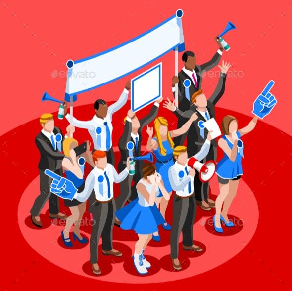 Election Infographic Cheering Crowd Vector Isometric People - Vectors