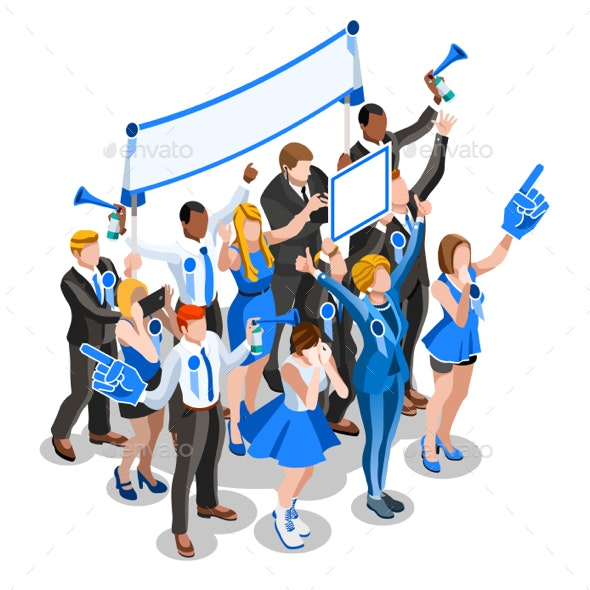 Election Infographic Crowd Convention Vector Isometric People - Vectors
