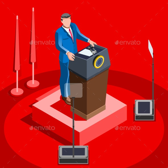Election Infographic Lecture Hall Vector Isometric People - Vectors