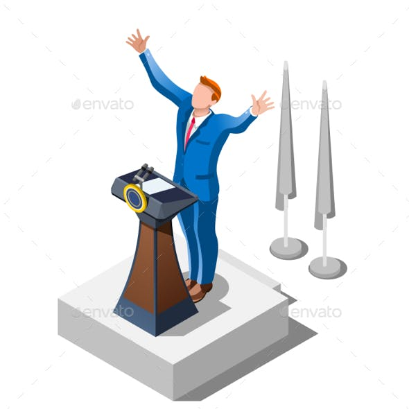 Election Infographic Political Debate Vector Isometric People