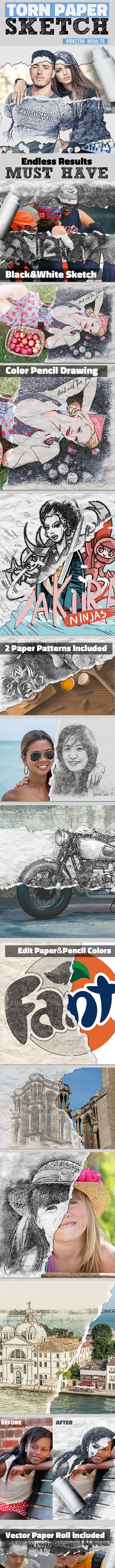 Sketch and Torn Paper Photo Effect Photoshop Action - Photo Effects Actions